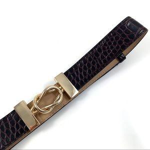 ANNE KLEIN brown crocodile leather belt